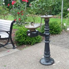 Double drinking fountain - great for different sizes of kids.  How cool would it be to have one in the back yard?