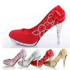 Buy Wedding Shoes Bridal Pumps Women Girl Glitter Fake Crystal Rose Flower  Evening Party Court Shoes red bottom High Heels in Pumps on AliExpress c33935ad538e