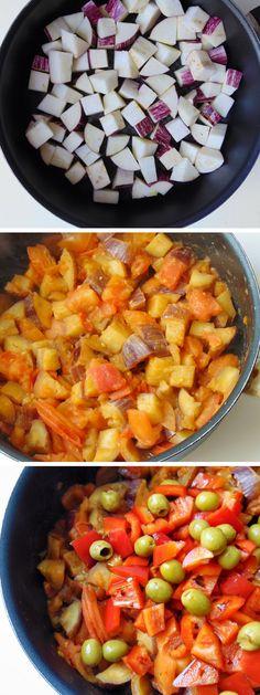 caponata siciliana version facil paso a paso | @tastydetails.com Comida Siciliana, Ratatouille, Vegetarian Recepies, Italian Recipes, Curry, Tasty, Ethnic Recipes, Food, Drink