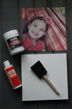 Canvas Photo Transfer Tutorial / Wood Photo Transfer Tutorial  Supplies needed:   Canvas or Wood Block Image printed from an inkjet printer on regular printer paper (not photo paper).  Also, print your image in reverse if possible.  This is especially important if your image has words on it. Gel Medium Sponge Mod Podge Water and wet sponge or rag (not shown)