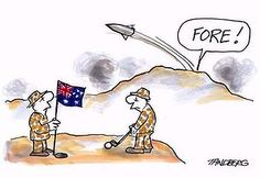 Aussie Troops playing golf in Afghanistan. Illustration: Ron Tandberg.