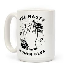 The feminist mug is great for all hillary clinton fans who hate trump and love feminism and have no problem being a member of the nasty women club! This middle finger tattoo design is the perfect way to say fuck you to the patriarchy. This hillary clinton mug is perfect for fans of feminism, grunge and punk aesthetic.