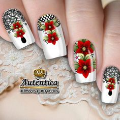 Manicure, Summer Nails, Nail Art, Beauty, Classy Nails, Work Nails, Flower Nails, Red Flowers, Bright Colours
