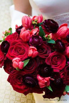 stoneblossom red and burgundy bridal bouquet of ranunculus tulips and roses
