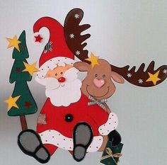 Santa and reindeer Christmas Crafts Sewing, Childrens Christmas Crafts, Christmas Goodies, Christmas Holidays, Christmas Cards, Christmas Ornaments, Outdoor Christmas Tree Decorations, Construction Paper Crafts, Santa And Reindeer
