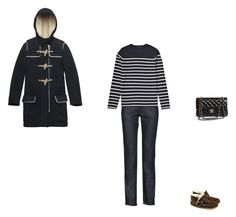 """""""fl"""" by parisparisperdu ❤ liked on Polyvore featuring Acne Studios, COS, Chanel, acne, raw straight jeans, chocolate suede fur boots, chanel, striped sweater, the kooples and navy duffle coat"""