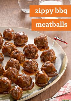 Zippy BBQ Meatballs — It's hard to say what exactly makes our ground beef and pork meatballs recipe so zippy. Could be the A.1. Could be the smoky BBQ sauce.