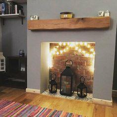 Log Burner Living Room, Living Room Decor Fireplace, Home Fireplace, Fireplace Design, Fireplace Mantle Shelf, Modern Fireplace Decor, Floating Shelf Mantle, Oak Mantle, Wooden Mantle