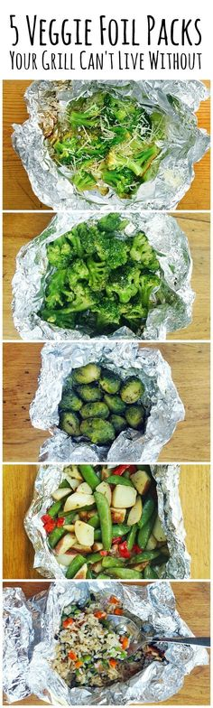 5 super yummy veggie foil packs for your grill make summer super easy! #bbq