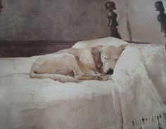 Andrew Wyeth  Those of us who have owned/own dogs recognise this scene :)  I just LOVE this mans paintings. Less is more with Wyeth.R McN