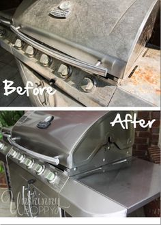 Grill Cleaning Before and After with a Spring Cleaning Checklist. Great idea for Father's Day.