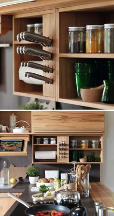 Kitchen Design Idea - Include A Built-In Knife Block | This knife block is built into the cabinetry instead of the countertops to save valuable space and keep the knives out of the reach of children.
