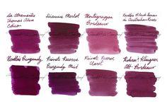 Fountain Pen Ink Samples -- Bordeaux Reds