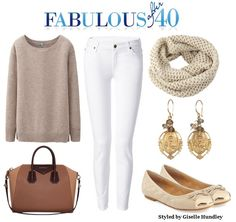 Wearing white pants in Fall look fabulous if you pair them with neutrals.l Fabulous After 40