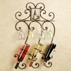 Wine bottles and glasses display