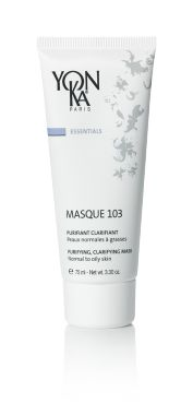 MASQUE 103 (MASKS)  Treat your skin to the purifying, clarifying effects of this natural triple clay mask that tightens pores and resurfaces skin for a balanced glow. With an earthy green color and an aromatic scent, this weekly treatment decongests and oxygenates the complexion. This version for normal to oily skin helps to prevent blackheads and the buildup of impurities by absorbing excess oil.  #skincare #beauty