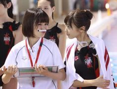 "Sakurako Ohara x Hinako Sano, BTS photo, J drama, sports comedy, ""Suikyu Yankees (Water Polo Yankees)"", 2014. Plot & Ep.1-10: http://dramanice.com/drama/suikyu-yankees-detail [Eng. Sub]"