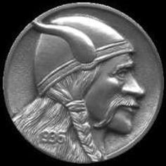 STEVE ADAMS HOBO NICKEL - VIKING - 1936 BUFFALO PROFILE Steve Adams, Vikings, Hobo Nickel, Coin Art, Coins, Carving, Soldiers, Warriors, Buffalo