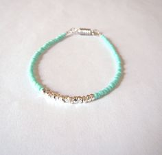 Delicate Ocean Blue Beaded Bracelet - Green Seed Bead Friendship Bracelet - Stackable Bracelet