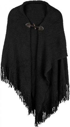 styleBREAKER Strick Poncho mit Knebelknopf Verschluss und Fransen, Umhang, Damen 08010005, Farbe:Schwarz