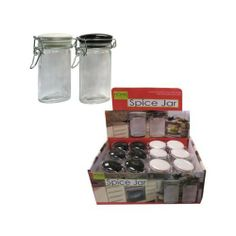 Oval Jar with Snap Lid Display 48Pcs by FindingKing. $99.99. Oval jars have a snap-close lid and are perfect for preserving spices. Each jar is made of transparent glass and have either a black or white ceramic lid. There are 12 jars in each display.
