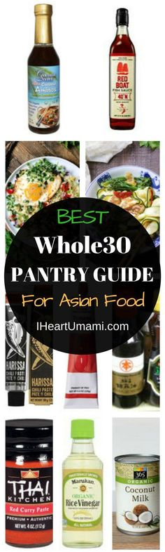 Whole30 Pantry Guide with everything you need to make super delicious Asian-inspired Whole30 recipes. Plus complete Whole30 shopping lists from the official Whole30 website. Be sure to save this post for your Whole30 Pantry reference ! Whole30 Pantry Staples | whole30 prep | how to prepare for a whole30 | whole30 must haves | what to buy for a whole30 #whole30prep #whole30staples #whole30pantry #IHeartUmami via @iheartumami