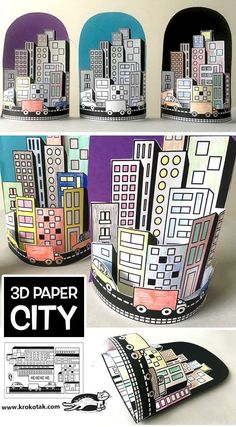 PAPER CITY (krokotak) - PAPER CITY (krokotak) - - This simple paper bag craft makes sweet paper houses that will lead to hours of creative play! 3d Paper, Paper Crafts, Arte Elemental, Art For Kids, Crafts For Kids, Summer Crafts, Classe D'art, Papier Diy, Ecole Art