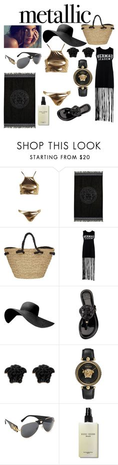 """""""Welcome to the dark side ....beach !"""" by mizzflawlessxo ❤ liked on Polyvore featuring Boohoo, Versace, Sun N' Sand, Tory Burch and Bobbi Brown Cosmetics"""