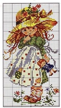 Russian cross stitch chart 'Nastenka' - girl with straw hat and doll (Holly Hobbie-like) Cross Stitch For Kids, Cute Cross Stitch, Cross Stitch Flowers, Cross Stitch Charts, Cross Stitch Designs, Cross Stitch Patterns, Cross Stitching, Cross Stitch Embroidery, Embroidery Patterns