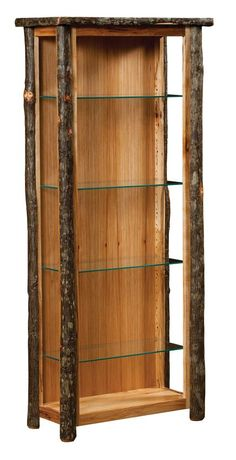 Display your treasures on the shelves of the rustic Blue Mountain Hickory Curio Cabinet with Open Sides from DutchCrafters. Twig Furniture, Log Cabin Furniture, Western Furniture, Amish Furniture, Furniture Online, Furniture Ideas, Modern Furniture, Antique Furniture, Furniture Logo