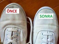 Beyaz spor ayakkabıları tekrar beyaza döndürmek için;