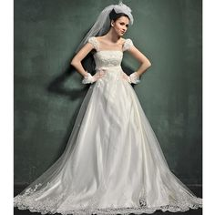 Wedding Dresses From the 1980s | Classic Strap Empire A Line 80s Retro Bridal Wedding Dresses