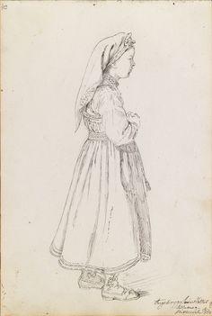 Adolph Tidemand, Ingeborg Sveinsdatter Lillemoe, Hitterdal. 12. juli 1844