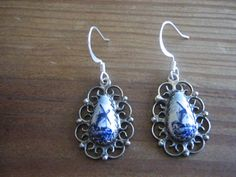 Vintage Hand Painted Delft Blue Earrings
