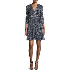 Diane von Furstenberg Irina Silk Wrap Dress ($535) ❤ liked on Polyvore featuring dresses, starfish dot blac, black polka dot dress, wrap dress, polka dot dress, black three quarter sleeve dress and bias-cut dress