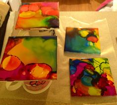 Another awesome idea from Pinterest:                          Alcohol Ink Tile Coasters Father's Day was coming up fast and after see...