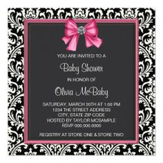 Elegant Pink Black Damask Princess Baby Shower Custom Announcements