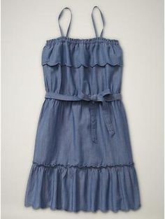 Sweet chambray sundress. Just add a bejeweled cardigan!  http://valleywestmall.com/directory