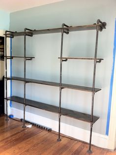 DIY Pantry Shelves Built with Pipe & Fittings Pipe Bookshelf, Diy Pipe Shelves, Pipe Shelving, Garage Shelving, Shelves With Pipes, Closet Shelving, Office Shelving, Shelving Units, Shelving Ideas