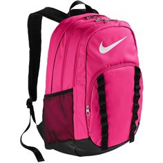 Nike Brasilia 7 XL Backpack ($45) ❤ liked on Polyvore featuring bags, backpacks, knapsack bags, pink bag, nike backpack, rucksack bag e nike bag