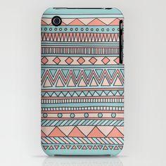 Tribal #4 (Coral/Aqua) iPhone Case
