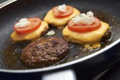 Secret to Cooking Burgers in a Pan This is how I do it and they are always amazing. I just drizzle with Worcestershire sauce and sprinkle salt and pepper about ten minutes before cooking. I have no grill right now and this works great.