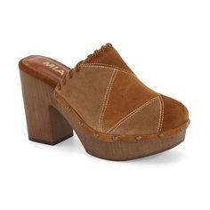 """MIA 'Patti' Clog, 3 3/4"""" heel ($85) ❤ liked on Polyvore featuring shoes, clogs, mia clogs, clog shoes, wooden clog shoes, wooden clogs and slipon shoes"""