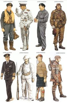 UNIFORMS - An assortment of uniforms worn by British forces during WWII.