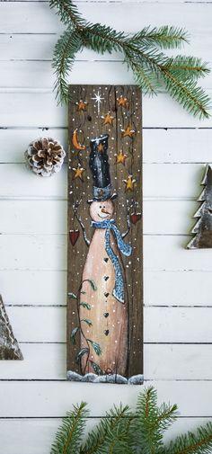 Primitive snowman sign, snowman painting on wood, Christmas art, holiday decor Christmas Wood Crafts, Snowman Crafts, Christmas Signs, Christmas Projects, Christmas Art, Holiday Crafts, Christmas Decorations, Christmas Ornaments, Snowman Wreath