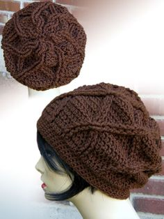 Crochet - Cabled Flower Slouch Hat - #REC1371