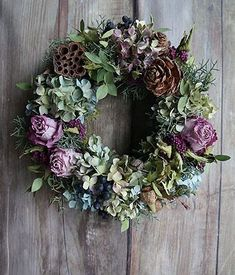 spring wreath in muted shades of green and lavender - Dehily Dried Flower Wreaths, Hydrangea Wreath, Dried Flowers, Floral Wreath, Small Christmas Trees, Christmas Flowers, Christmas Decorations, Autumn Wreaths, Holiday Wreaths