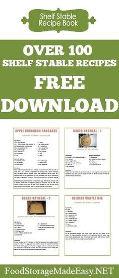 Need some good food storage recipes to add to your collection? Download this free recipe book for over 100 recipes that can be made completely out of items in your pantry! by jamie_1