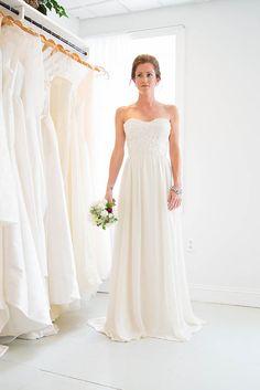 strapless macrame lace wedding dress- Spring | Emily Kotarski Bridal