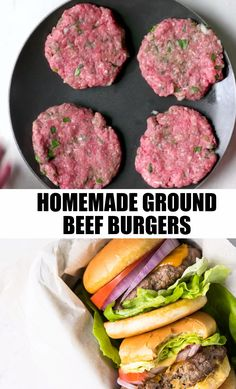 A classic crowd-pleasing ground beef burger. I call it the purist's burger. Incredibly tasty, moist and delicious traditional burger. The flavor, texture and ease of this burger make it an approachabl Beef Burger Patty Recipe, Ground Beef Burger Recipe, Homemade Burger Patties, Making Burger Patties, Homemade Beef Burgers, Best Burger Recipe, Burger Meat, Ground Beef Recipes, Sauces